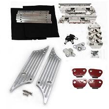 Chrome Latches Cover W/ Hinge Saddle bag Latch Hardware Set Kit FIT Harley 93-13