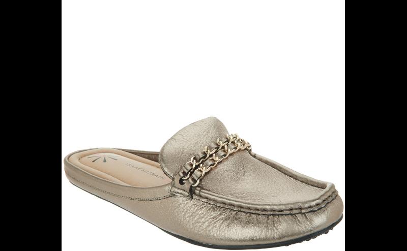 Isaac Mizrahi Leather Mule Moccasin Chain Hardware amanda pick size color new
