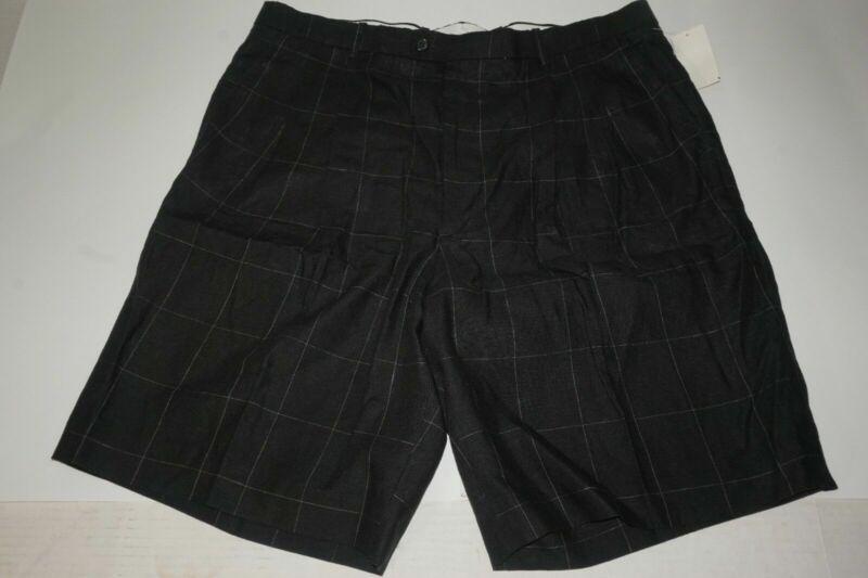 Nwt Linea Uomo Lino Pantaloncini Nero Quadri Misura 40