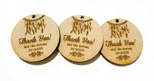 BIRTHDAY WOOD TAGS FAVOUR BOHO STYLE GIFT ENGRAVED PERSONALISED TIMBER