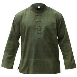 Mens-Plain-Hemp-Collarless-Grandad-Shirt-Full-Sleeved-Hippie-Summer-Light-Tops