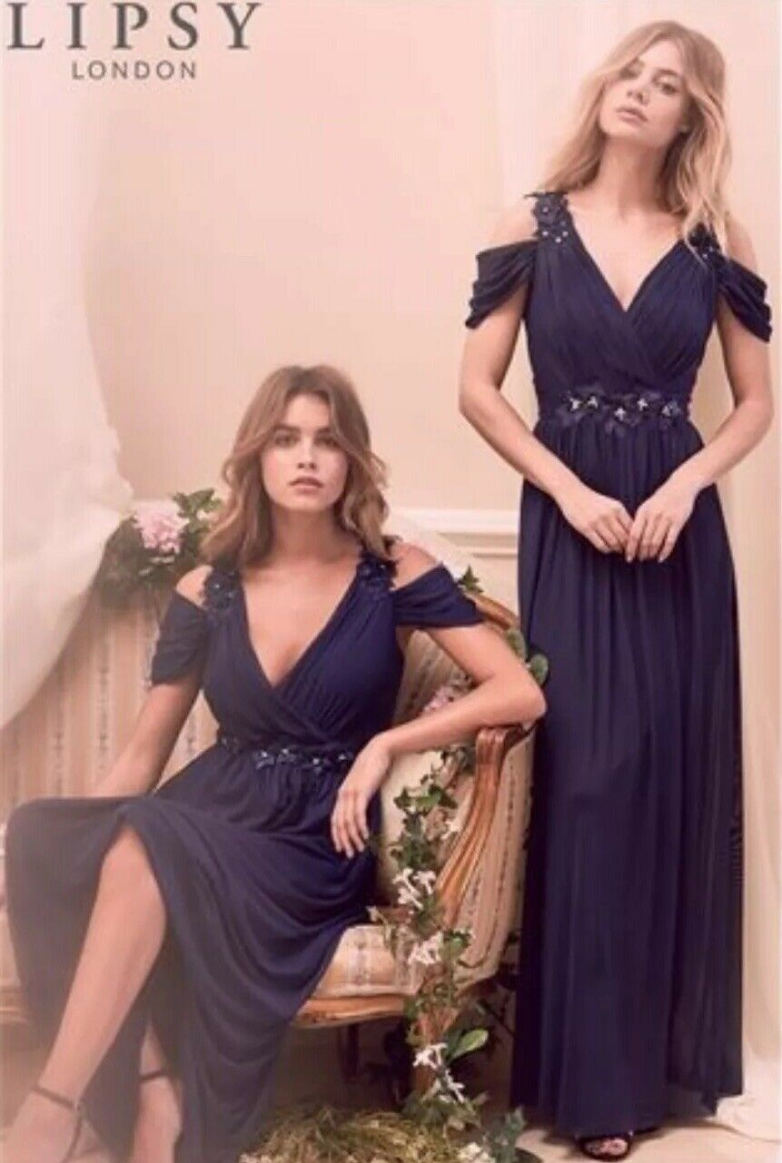 BnwtLipsySize 8 Navy bluee Samantha Floral Trim Cold Shoulder Maxi Dress New