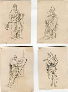 Edition-Original-Four-Lithographs-Of-Divers-Habillemens-Des-Anciens-Grecs-Et-R