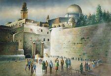 Oil painting on canvas, Wailing Wall in Jerusalem, Judaism, COA David Wood