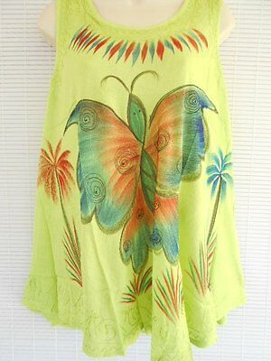 Rayon Embroidery Tunic Top Boho Free Size Sleeveless Hippie Lime Yellow