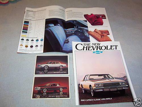 2 ORIG 1980 CHEVROLET CAPRICE 80 CHEVY POSTCARDS IMPALA BROCHURE // CATALOG