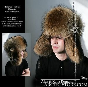 1211b43d3f15d Luxury Russian Raccoon Full Fur Shapka Ushanka Hat Siberian Type for ...