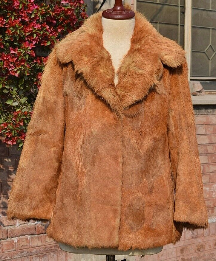 ECHT PELZ RED FOX FUR COAT genuine gold fur (Vulpes vulpes) Chest 42