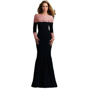 Image is loading Suzanjas-Evening-Dress-in-Black-with-Pink-Lace- 68bef6364