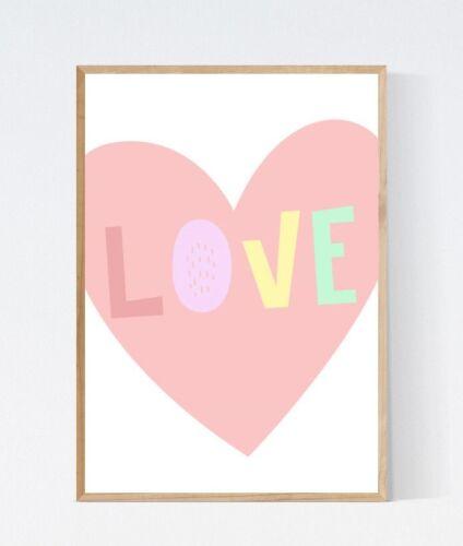 Rainbow Love Heart Word Art Modern Pastel Nursery Print Kids Room Wall Picture