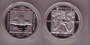 10 Hryven Silber Münze Ukraine Olympiade Athen 2004, Schwimmer 2002 PP (102252)