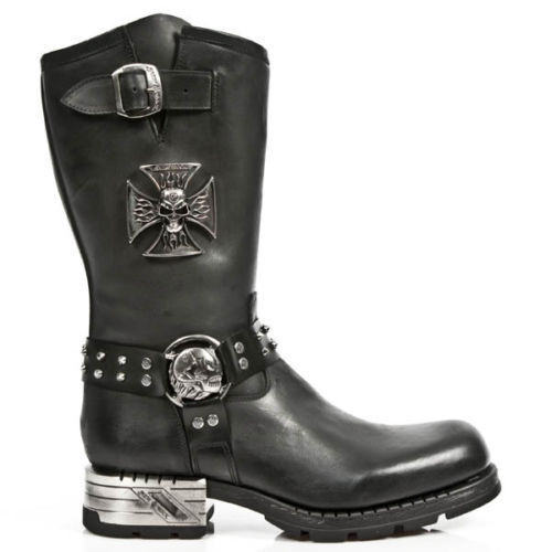 Grandes zapatos con descuento NewRock New Rock MR030 Strap Skull Metalic Black Leather Boot Biker Goth Boots