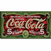 Coca Cola Coke 5 Cent 1900s Advertising Retro Vintage Style Metal Tin Sign