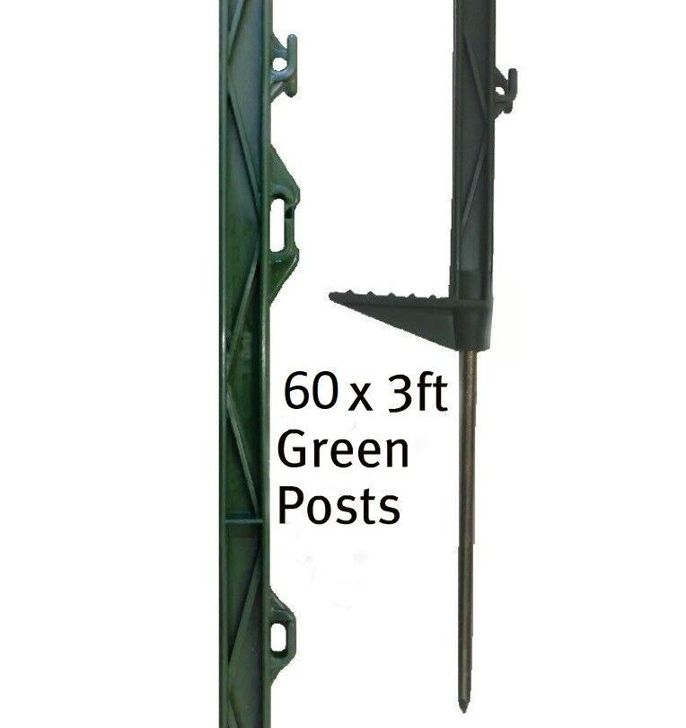 60 X GREEN 3FT POLY POSTS - Electric Fencing Fence Stakes 90cm Above Ground