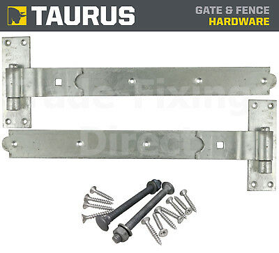 "hook and band hinges heavy duty adjustable galvanised  18/"" with fixings"