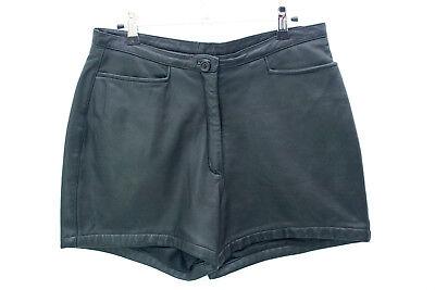 In Pelle Vintage Nero Pantaloni Corti Taglia 14-mostra Il Titolo Originale