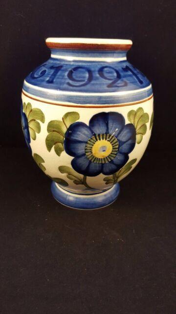 Aluminia Faience Royal Copenhagen Denmark Vase Blue Flowers Early