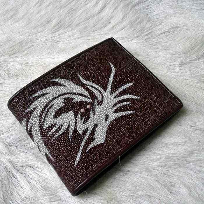 Dragon Motif Wallet Brown Authentic Stingray Leather For Men Christmas Gift