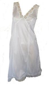 White-Full-Slip-Split-Side-Size-22-Deep-Lace-Cling-Resist-Anti-Static-Underskirt