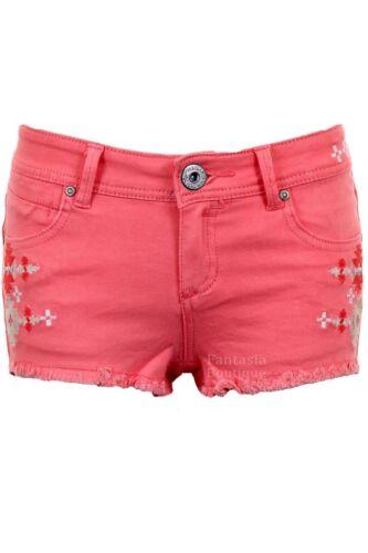 Ladies Denim Pastel Coloured Aztec Summer Shorts Women/'s Fitted Hotpants 6-14