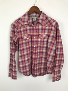 Wrangler-Women-039-s-Western-Flannel-Shirt-Pink-Plaid-Long-Sleeve-Pearl-Snap-L