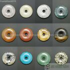 Natural Gemstone Round Donut Ring Pendant 40mm Beads Necklace Earring Jewelry