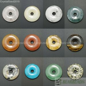 Natural-Gemstone-Round-Donut-Ring-Pendant-40mm-Beads-Necklace-Earring-Jewelry