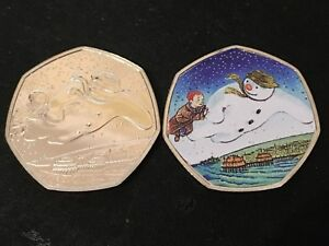 SNOWMAN 2018 COLOURED 50p COLLECTABLE COIN ROYAL MINT 40TH ANNIVERSARY