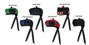 New-Scottish-Black-Wool-Blended-Glengarry-Hat-with-Red-Pompom-6-Designs