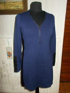 Robe-fourreau-coton-mauve-simili-cuir-noir-MISS-CAPTAIN-T-2-38-40-col-zip
