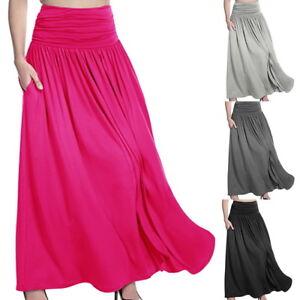 21066ac6b Ladies High Waist Flared Pleated Long Dress Gypsy Maxi Skirt Full ...