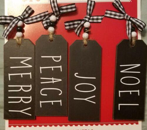 "Rae Dunn Tag Inspired Christmas MINI Farmhouse Tree Ornaments Home Decor 4PC 4"""