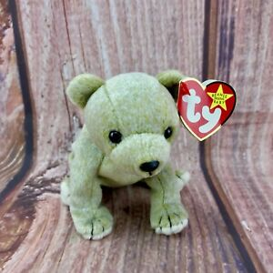 Ty-Beanie-Babies-Teddy-Plush-Almond-bear-Vintage-1999-Tagged-collectable-gift