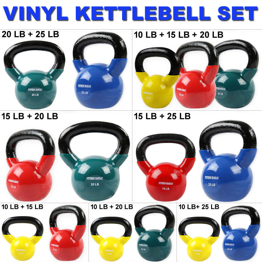 Vinyl Kettlebell Heavy Weights Set Full Body Workouts Fitness Training Exercise