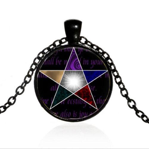 Vintage Pendentif Pentagramme cabochon en verre Noir Chaîne Collier Pendentif