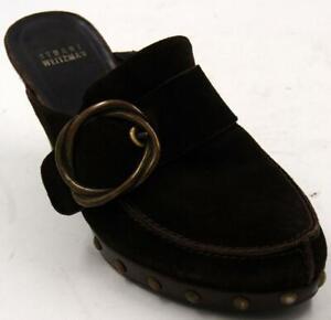 Stuart-Weitzman-Brown-Suede-Clogs-Mule-High-Heel-Women-039-s-Shoes-Sz-8-5-M
