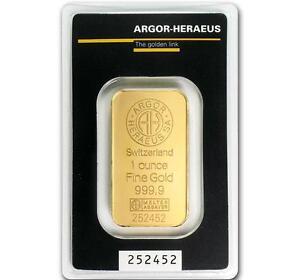 1 oz Gold Bar Argor Heraeus .9999 Gold in Sealed Assay Card #A314
