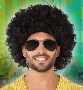 PERRUQUE-Noir-AFRO-160g-Deguisement-Adulte-Enfant-Disco-Chanteur-Clown-NEUF