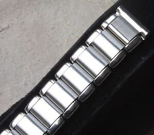 Polished-amp-satin-steel-vintage-watch-band-16mm-ends-fixed-lugs-or-spring-bars-OK