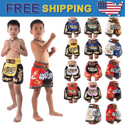 Kid/'s Boxing Shorts Satin Muay Thai Kickboxing MMA Training Boy MT017-10 XXS-M