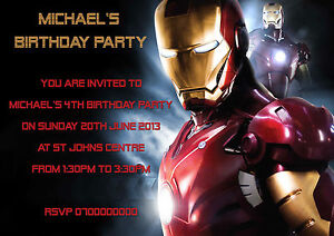 40 Personalised Childrens Birthday party invitations Iron Man Kids