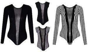 Womens-Black-Mesh-Insert-Panel-BodySuit-Girls-Body-Suit-Ladies-Sexy-Leotard-Top