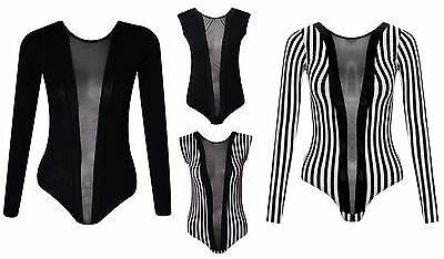 Womens Black Mesh Insert Panel BodySuit Girls Body Suit Ladies Sexy Leotard Top