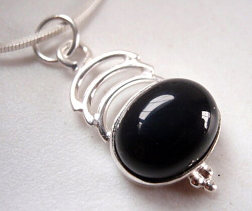 Black Onyx Necklace Cabochon with Triple Crest 925 Sterling Silver New