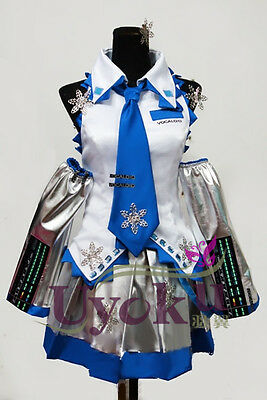 Japanese Cosplay Costume White Snow Hatsune Miku Customized Party Dress New