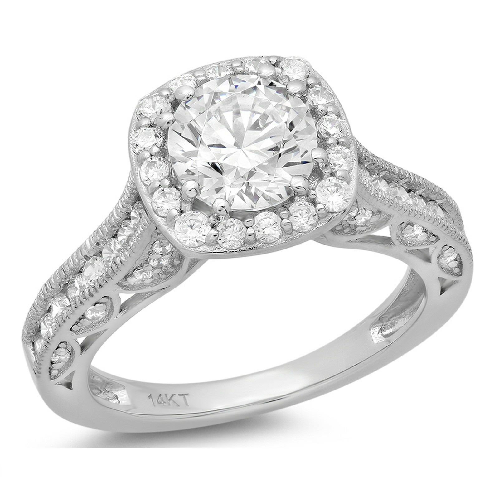 2.05ct Round Cut Halo Engagement Bridal Wedding Anniversary Ring 14k White gold