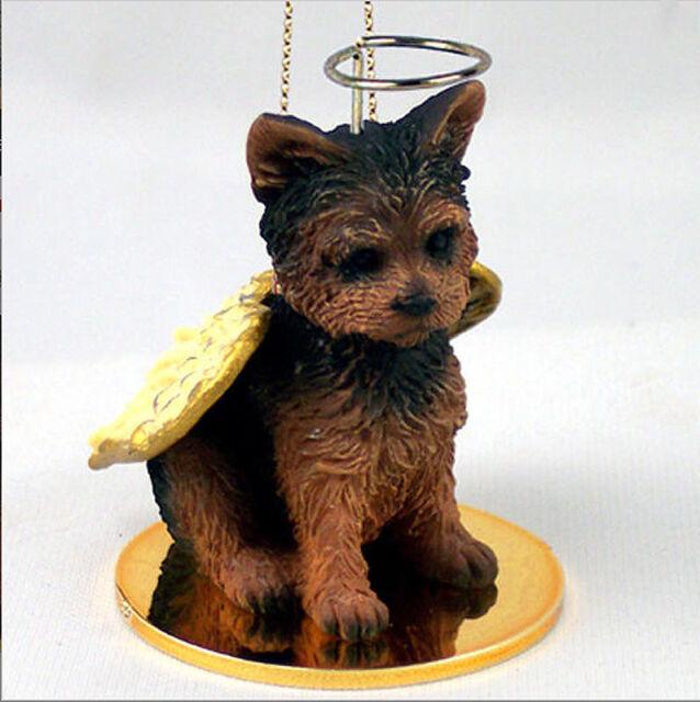 Yorkie Dog Figurine Ornament Angel Statue Hand Painted Pup Cut