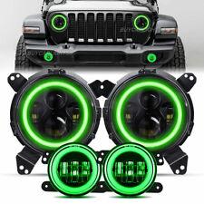 Led Headlights Fog Lights Green Halo Combo For Jeep Wrangler Jl Gladiator 18 21
