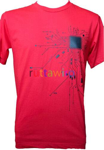Short Sleeve Men T Shirt Casual RED Cotton Blend Graphic Tee CPU Heart Core