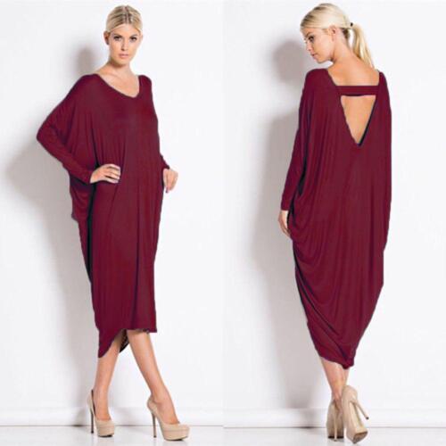 Women/'s Ladies Backless Baggy Cocktail Evening Midi Dress Jump Suit Black,purple
